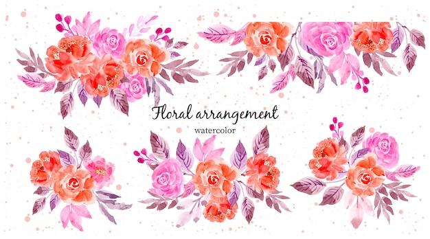Coleção de arranjo floral rosa aquarela roxa