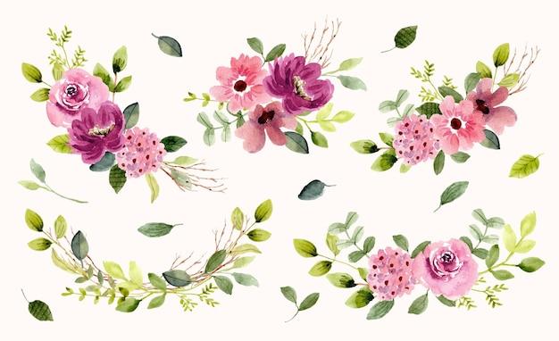 Coleção de arranjos em aquarela de jardim floral