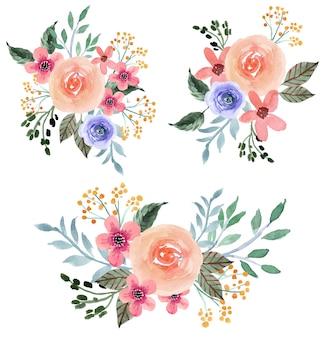 Coleção de arranjos florais em aquarela rosa e roxo suave