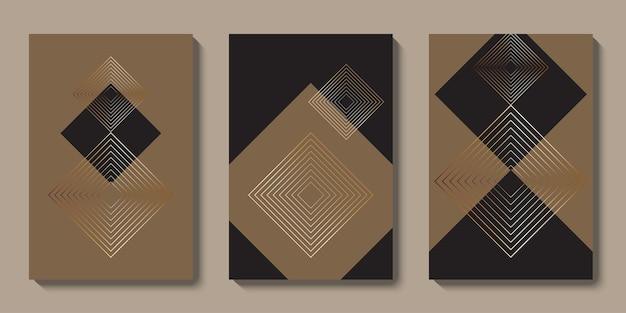 Coleção de arte abstrata de parede de ouro moderna de meados do século design de vetor de forma geométrica de luxo minimalista