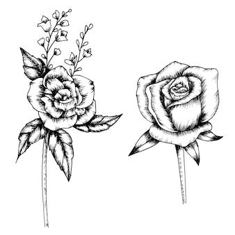 Coleção de arte de desenho de flor e folha