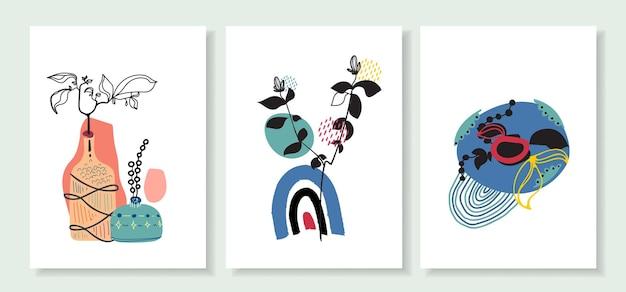 Coleção de arte pop de linha abstrata em estilo boêmio com arco-íris e elementos florais