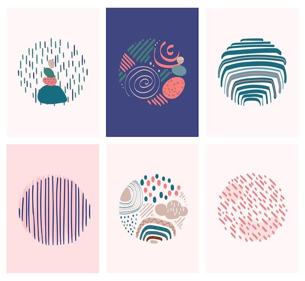 Coleção de arte pop de linha abstrata em estilo boêmio com elementos de arco-íris