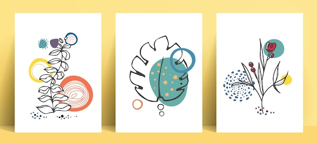 Coleção de arte pop de linha abstrata em estilo boêmio com folhas e elementos florais