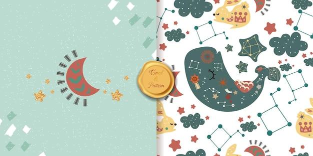 Coleção de arte pop de linha padrão sem emenda estilo boêmio com baleia, lua e estrelas