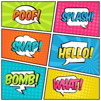 Coleção de arte pop em quadrinhos de texto balão