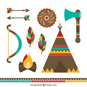 Coleção de artefatos indígenas em design plano