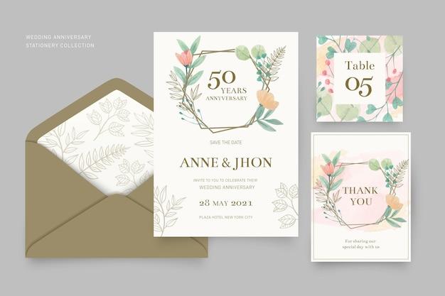 Coleção de artigos de papelaria de aniversário de casamento
