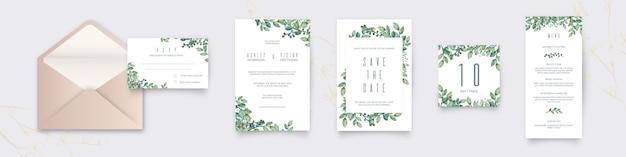 Coleção de artigos de papelaria de casamento de flores