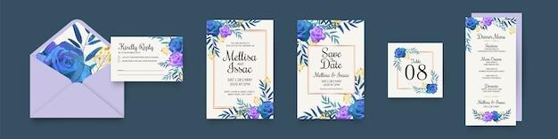 Coleção de artigos de papelaria de casamento floral