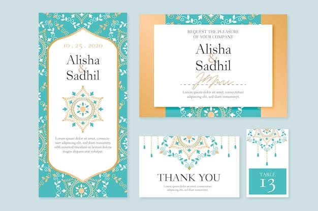 Coleção de artigos de papelaria de casamento indiano