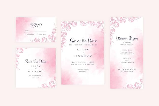 Coleção de artigos de papelaria de casamento pastel em pó
