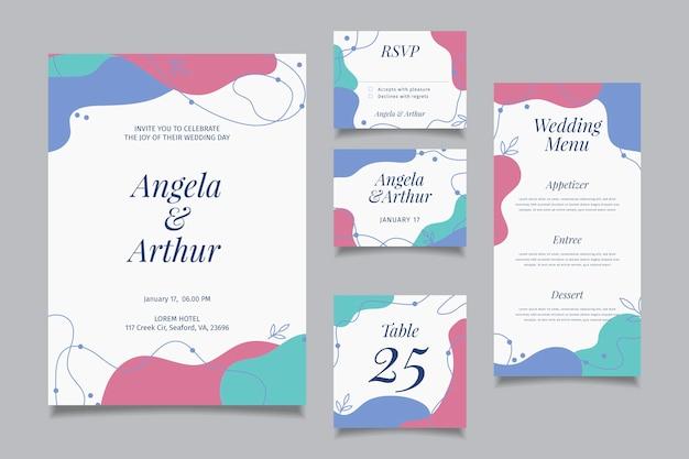 Coleção de artigos de papelaria de casamento