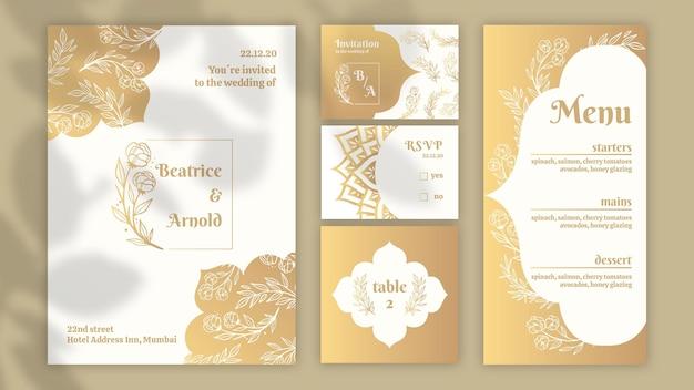 Coleção de artigos de papelaria dourados para casamento
