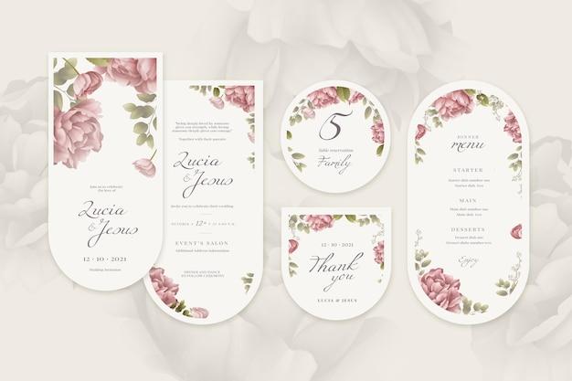 Coleção de artigos de papelaria floral para casamento