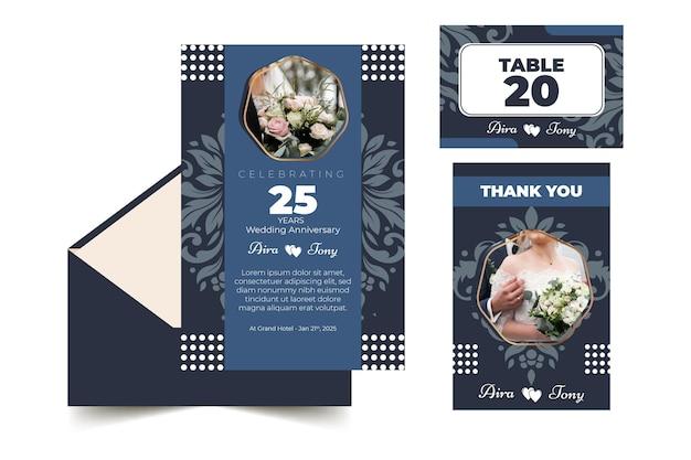 Coleção de artigos de papelaria para 25 anos de casamento