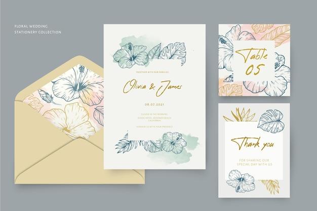 Coleção de artigos de papelaria para casamento com enfeites florais