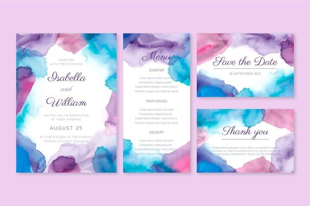 Coleção de artigos de papelaria para casamento em aquarela abstrata