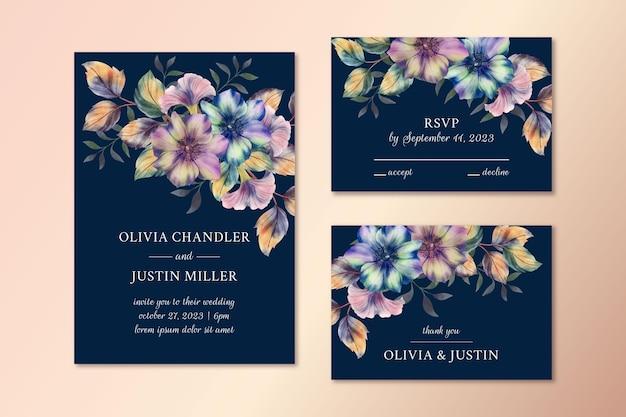 Coleção de artigos de papelaria para casamento em aquarela dramática