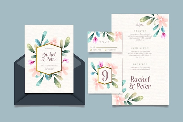 Coleção de artigos de papelaria para casamento