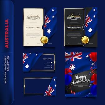 Coleção de artigos de papelaria patriótica de austrália