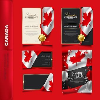 Coleção de artigos de papelaria patriótica do canadá