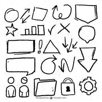 Coleção de artigos desenhados à mão para infográficos