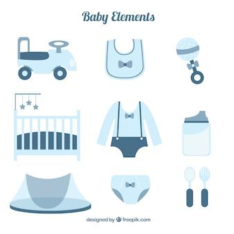 Coleção de artigos do bebê e brinquedos em design plano