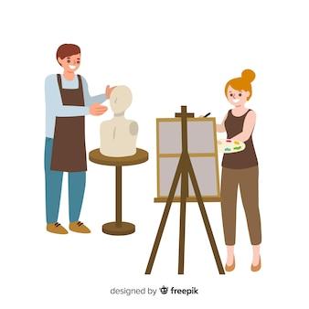 Coleção de artistas no trabalho