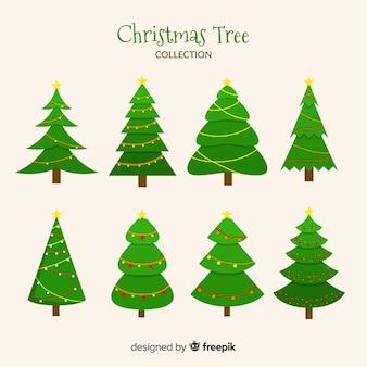 Coleção de árvore de natal com design plano