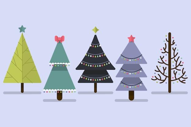Coleção de árvore de natal de design plano