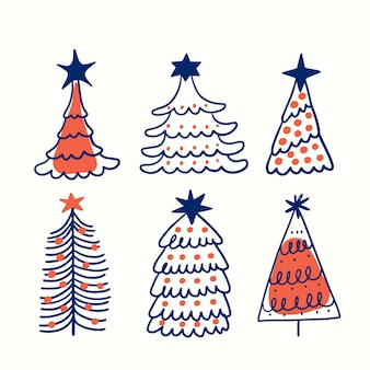 Coleção de árvore de natal desenhada à mão