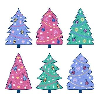 Coleção de árvore de natal desenhada à mão Vetor grátis