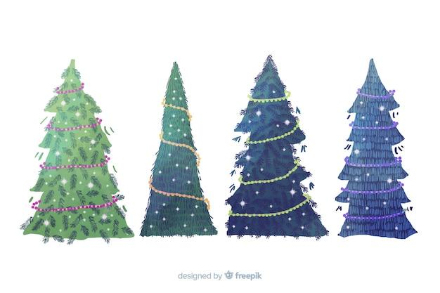 Coleção de árvore de natal em aquarela