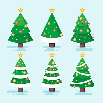 Coleção de árvore de natal em design plano