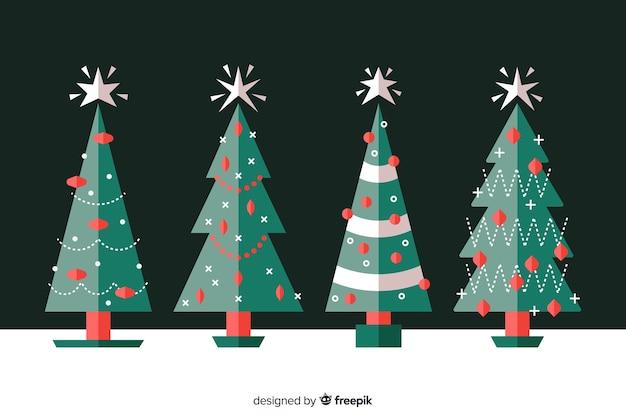 Coleção de árvore de natal plana com estrela branca