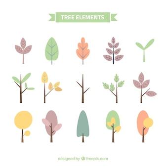Coleção de árvores bonitas em cores pastel