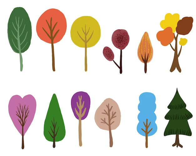 Coleção de árvores coloridas fofas