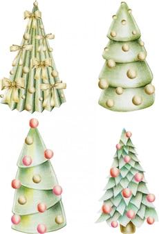 Coleção de árvores de natal com enfeites