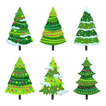Coleção de árvores de natal de design plano