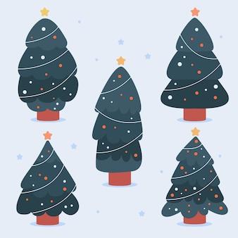 Coleção de árvores de natal decoradas desenhada à mão