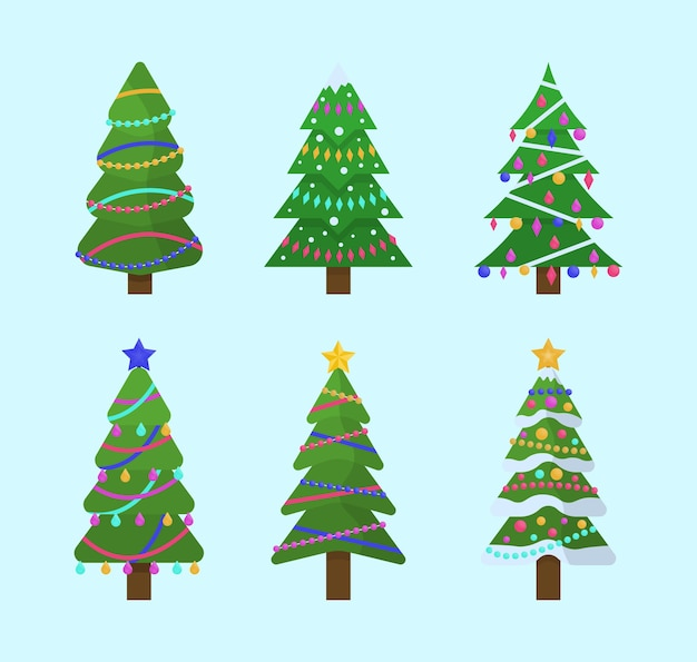 Coleção de árvores de natal em design plano para cartões, convites, banners, designs web