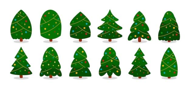 Coleção de árvores de natal em estilo simples e plano. abeto verde com guirlandas e bolas coloridas