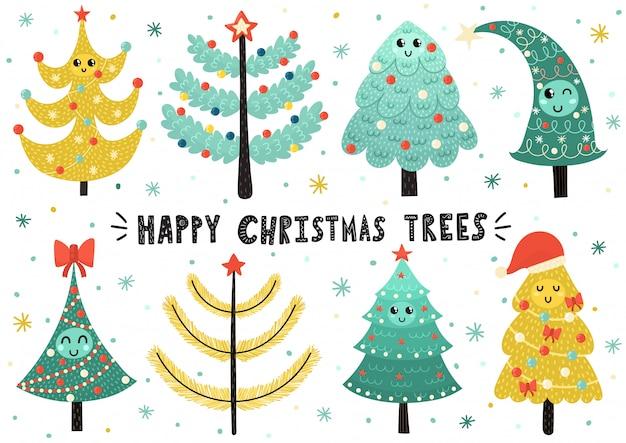 Coleção de árvores de natal feliz