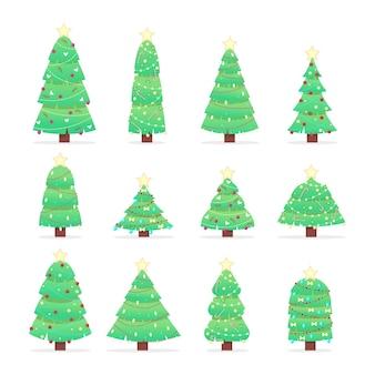 Coleção de árvores de natal isoladas em branco
