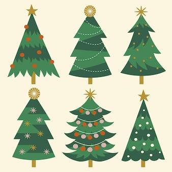 Coleção de árvores de natal planas desenhada à mão