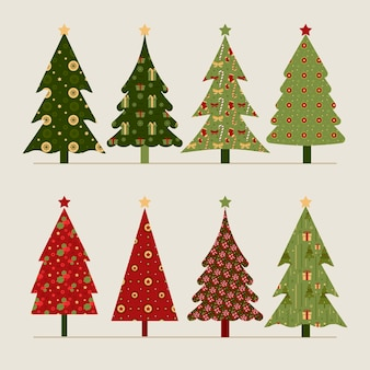 Coleção de árvores de natal vintage