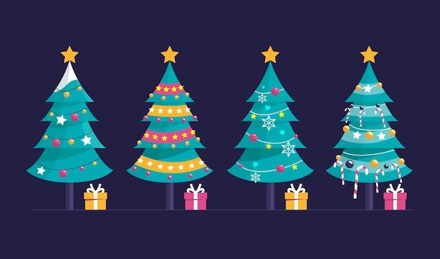 Coleção de árvores decoradas com design plano