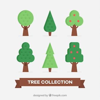 Coleção de árvores em estilo simples