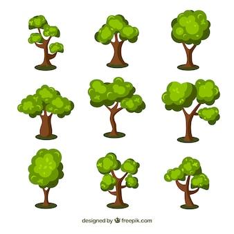 Coleção de árvores no estilo 2d